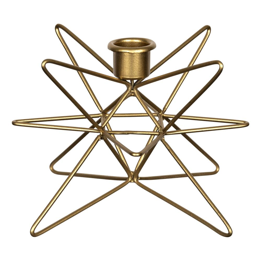 Shiny Gold 3D Wire Star Taper Candle Holder - 383299. Picture 1
