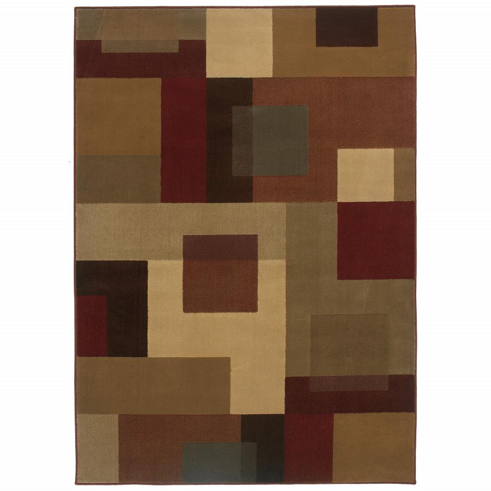 10'x13' Red and Tan Geometric Area Rug - 383623. Picture 1