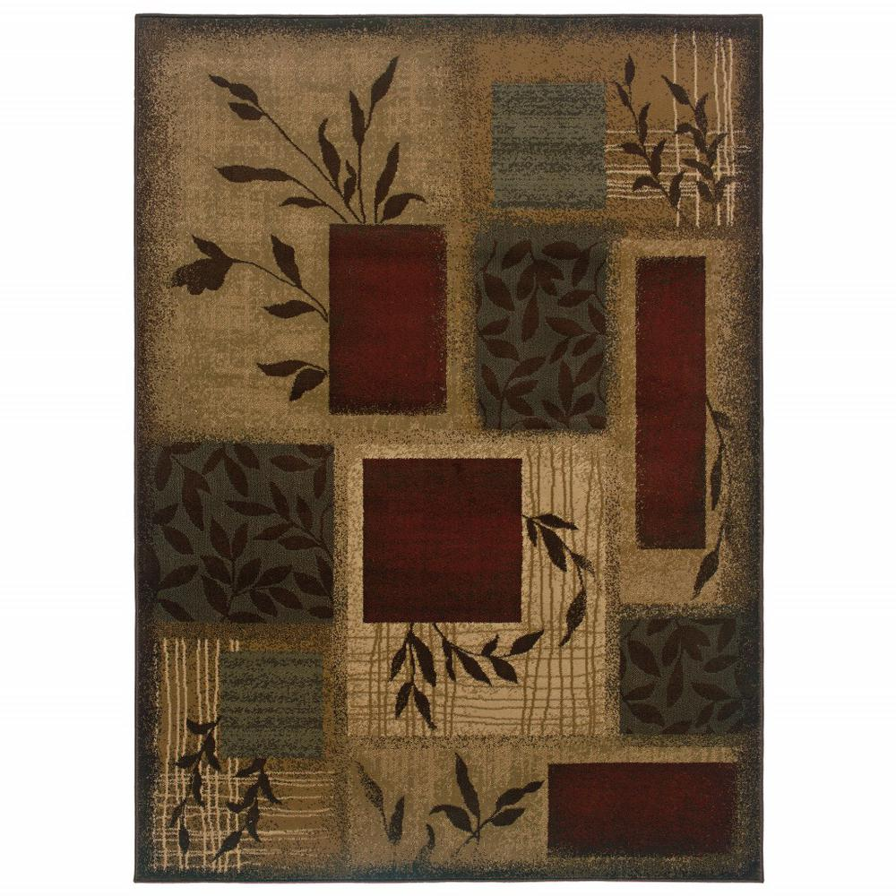 10'x13' Beige and Red Floral Area Rug - 383629. Picture 1