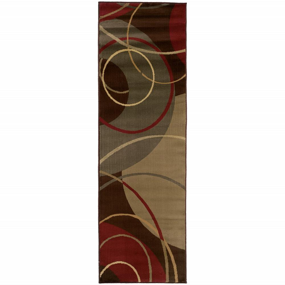 3'x8' Brown and Red Abstract  Runner Area Rug - 383631. Picture 1