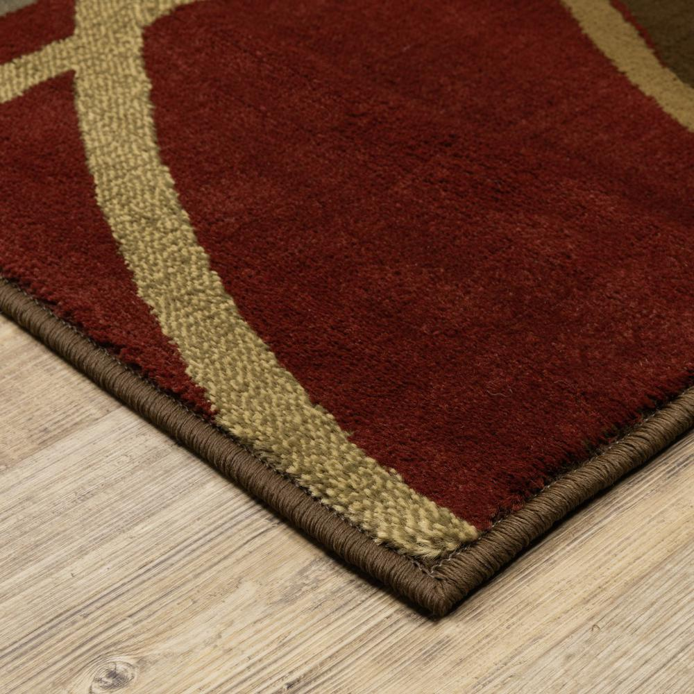 3'x8' Brown and Red Abstract  Runner Area Rug - 383631. Picture 2