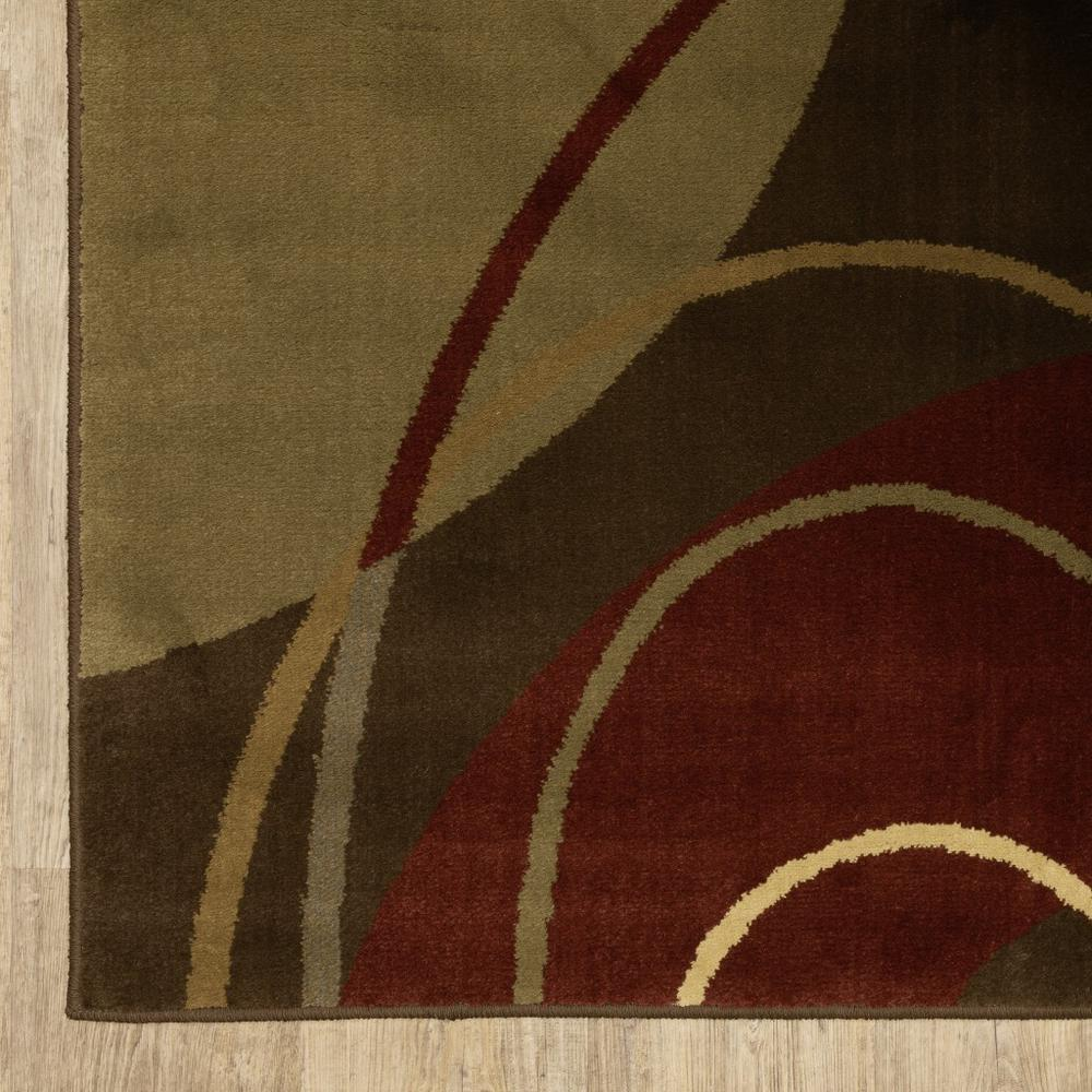 3'x8' Brown and Red Abstract  Runner Area Rug - 383631. Picture 3