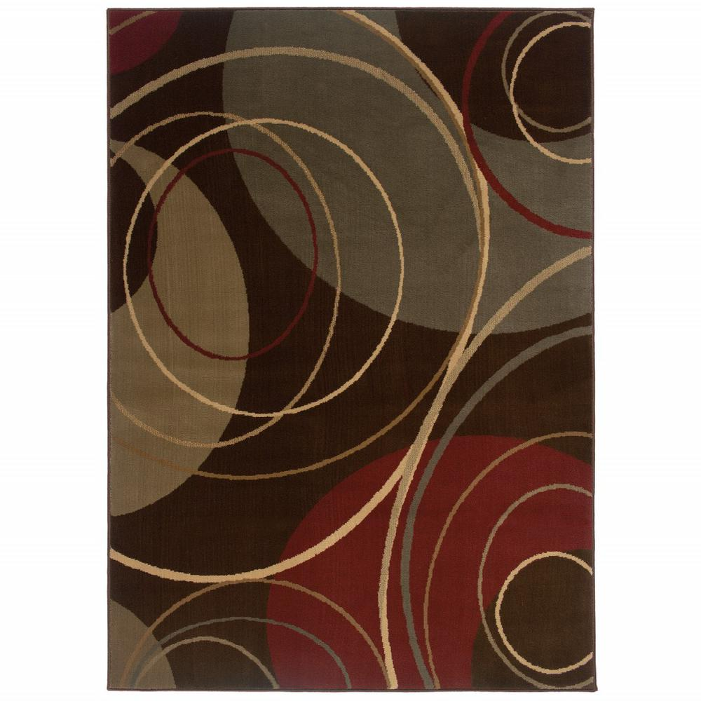 5'x8' Brown and Red Abstract  Area Rug - 383633. Picture 1