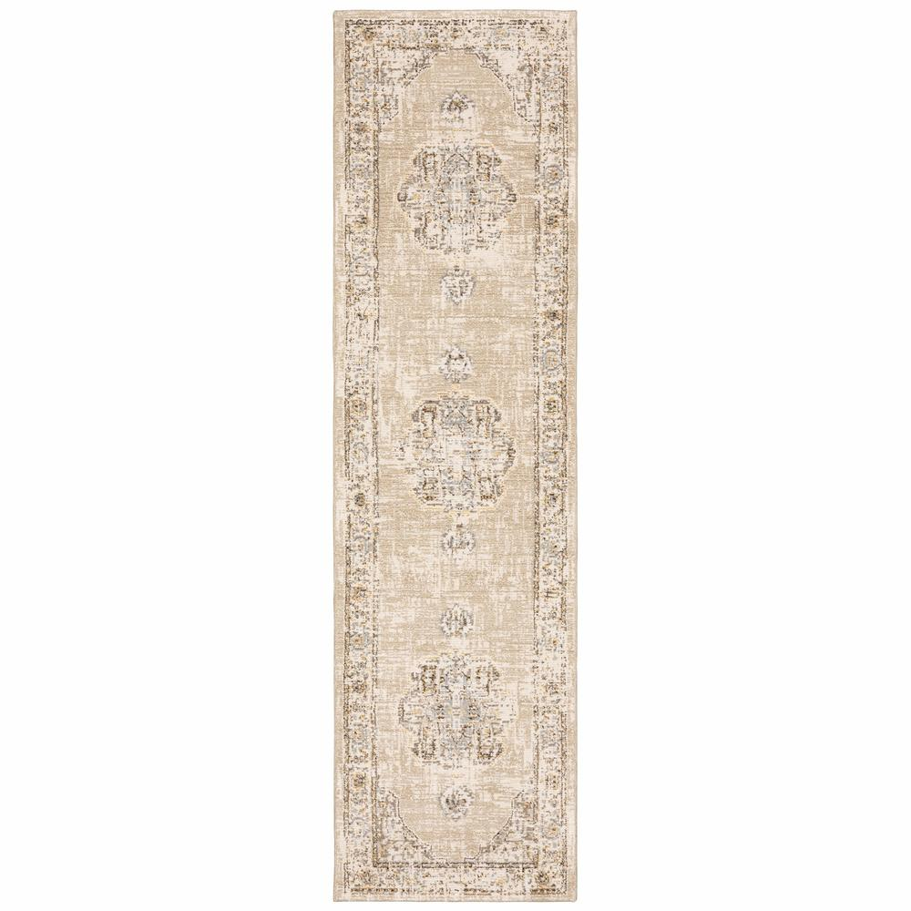 2'x8' Beige and Ivory Center Jewel Runner Rug - 383637. Picture 1