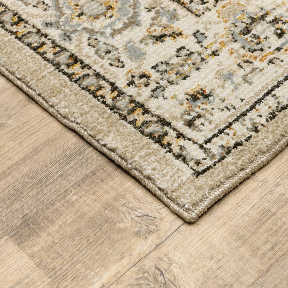 2'x8' Beige and Ivory Center Jewel Runner Rug - 383637. Picture 2