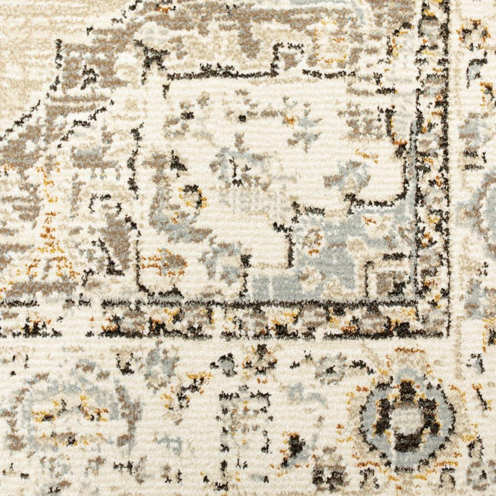 2'x8' Beige and Ivory Center Jewel Runner Rug - 383637. Picture 3