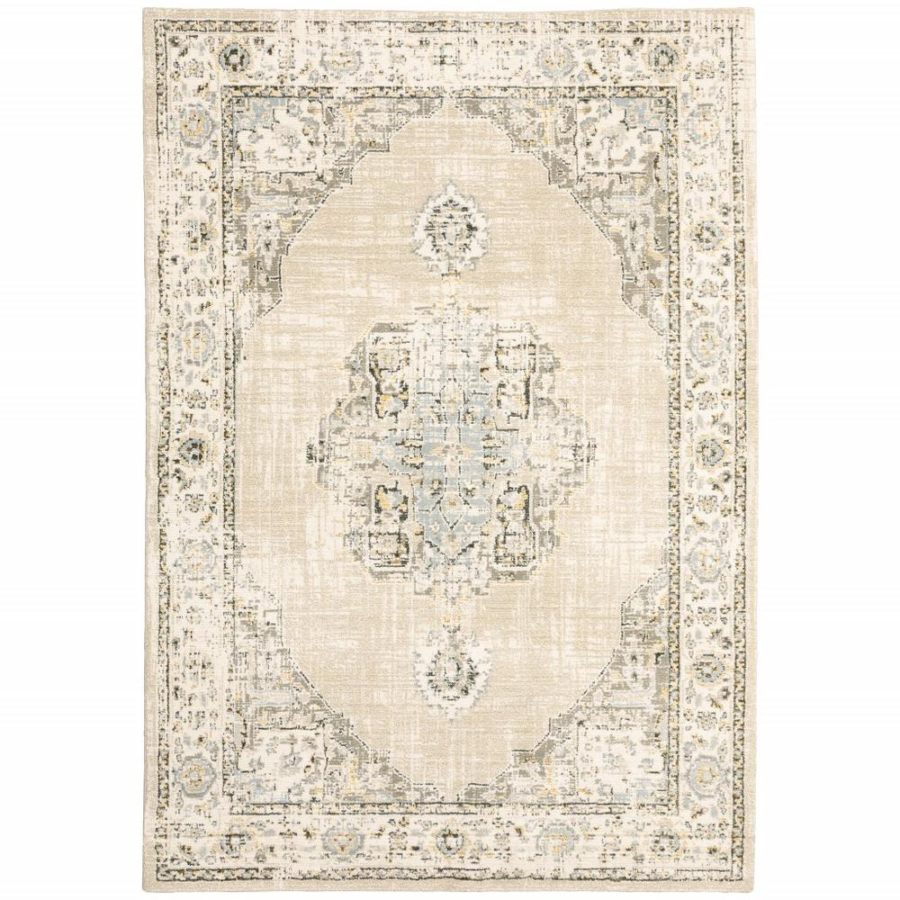 7'x9' Beige and Ivory Center Jewel Area Rug - 383641. Picture 1