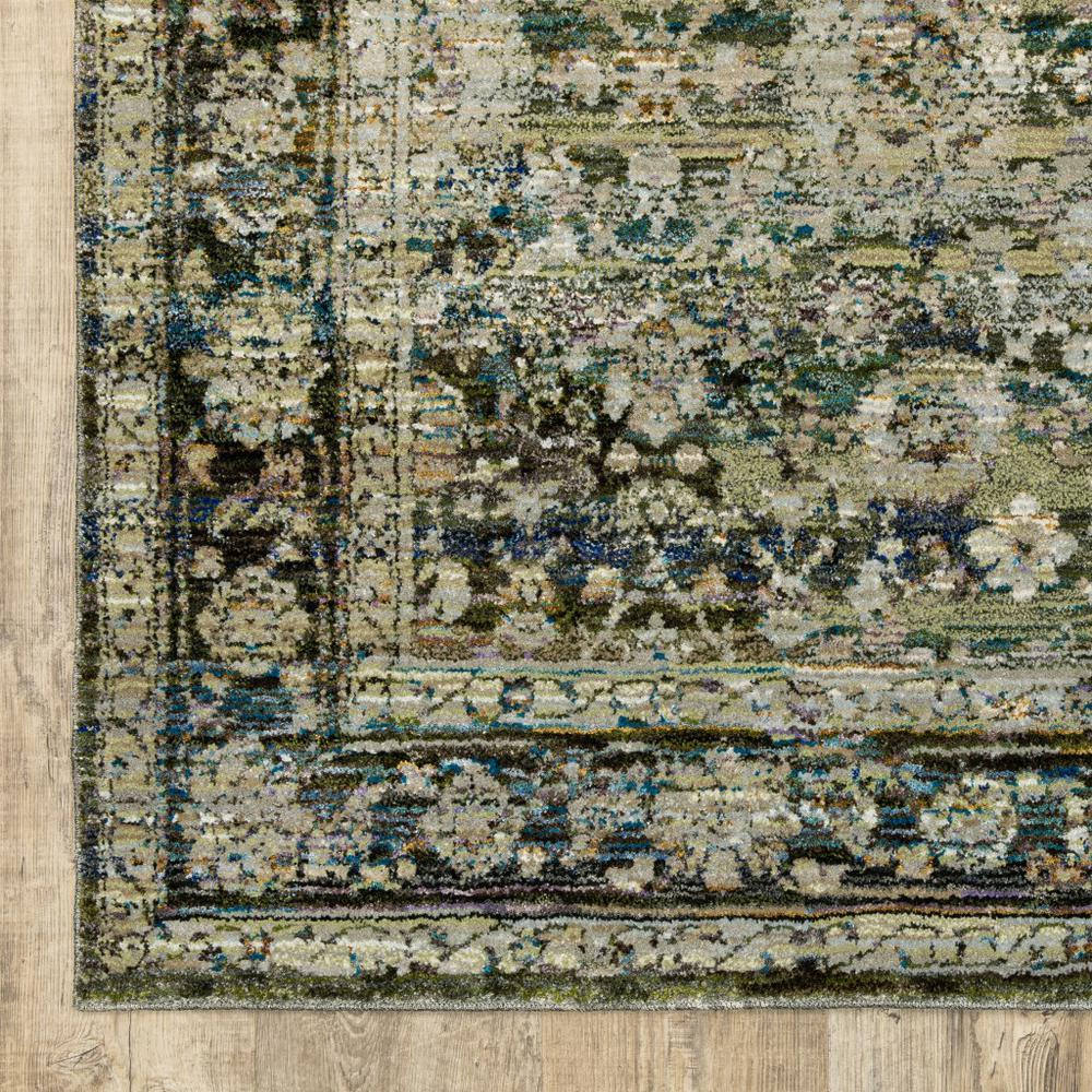 7'x9' Green and Brown Floral Area Rug - 383650. Picture 2
