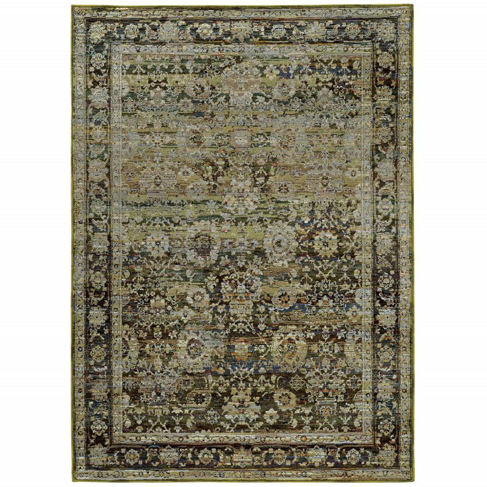 8'x10' Green and Brown Floral Area Rug - 383651. Picture 1