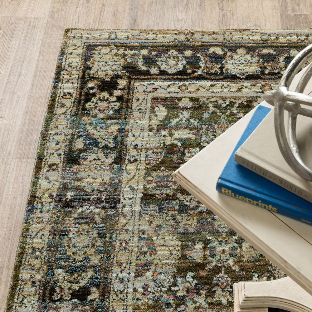 8'x10' Green and Brown Floral Area Rug - 383651. Picture 3