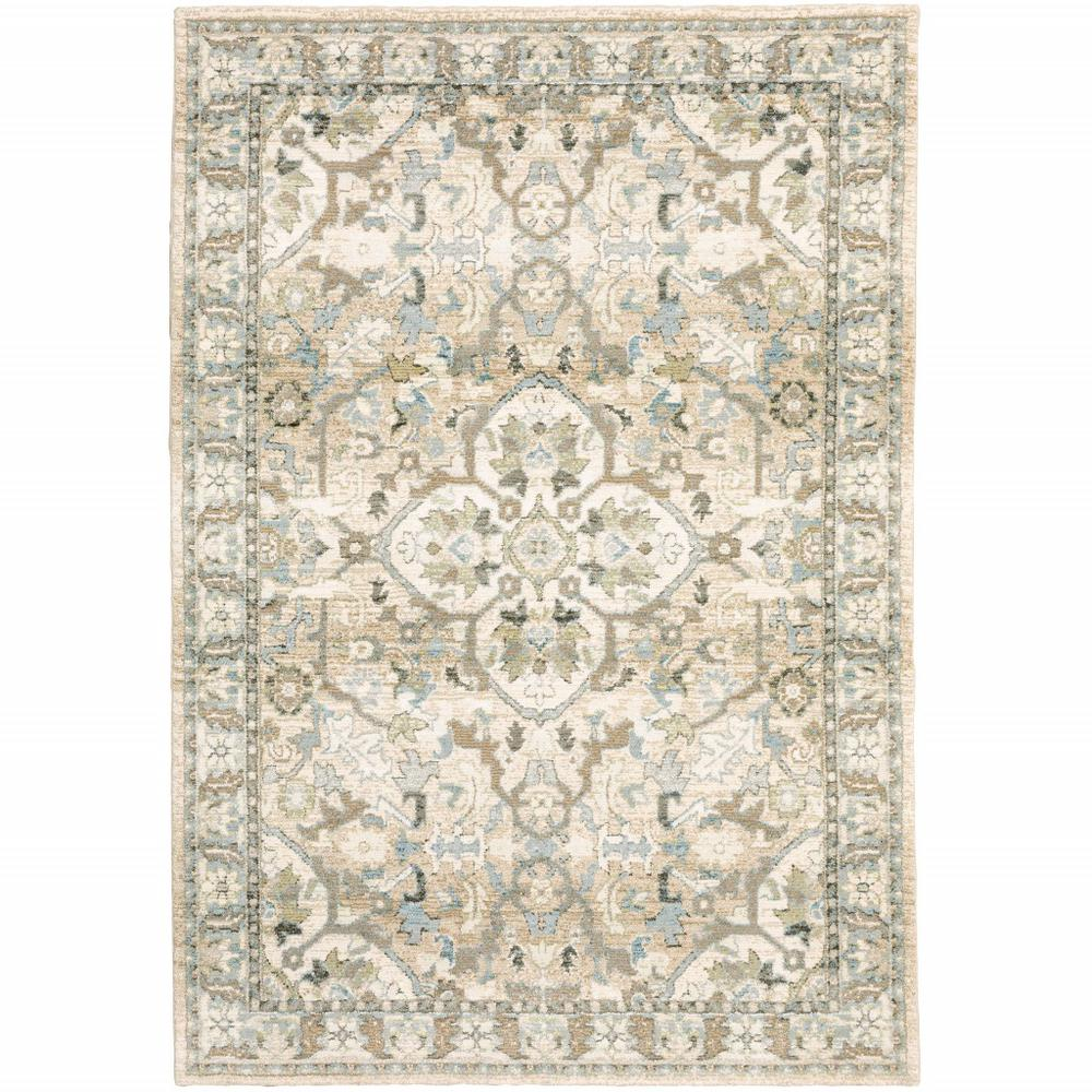 7'x9' Beige and Ivory Medallion Area Rug - 383660. Picture 1