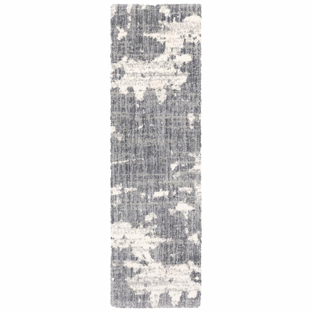 2'x8' Grey and Ivory Grey Matter  Runner Rug - 383664. Picture 1