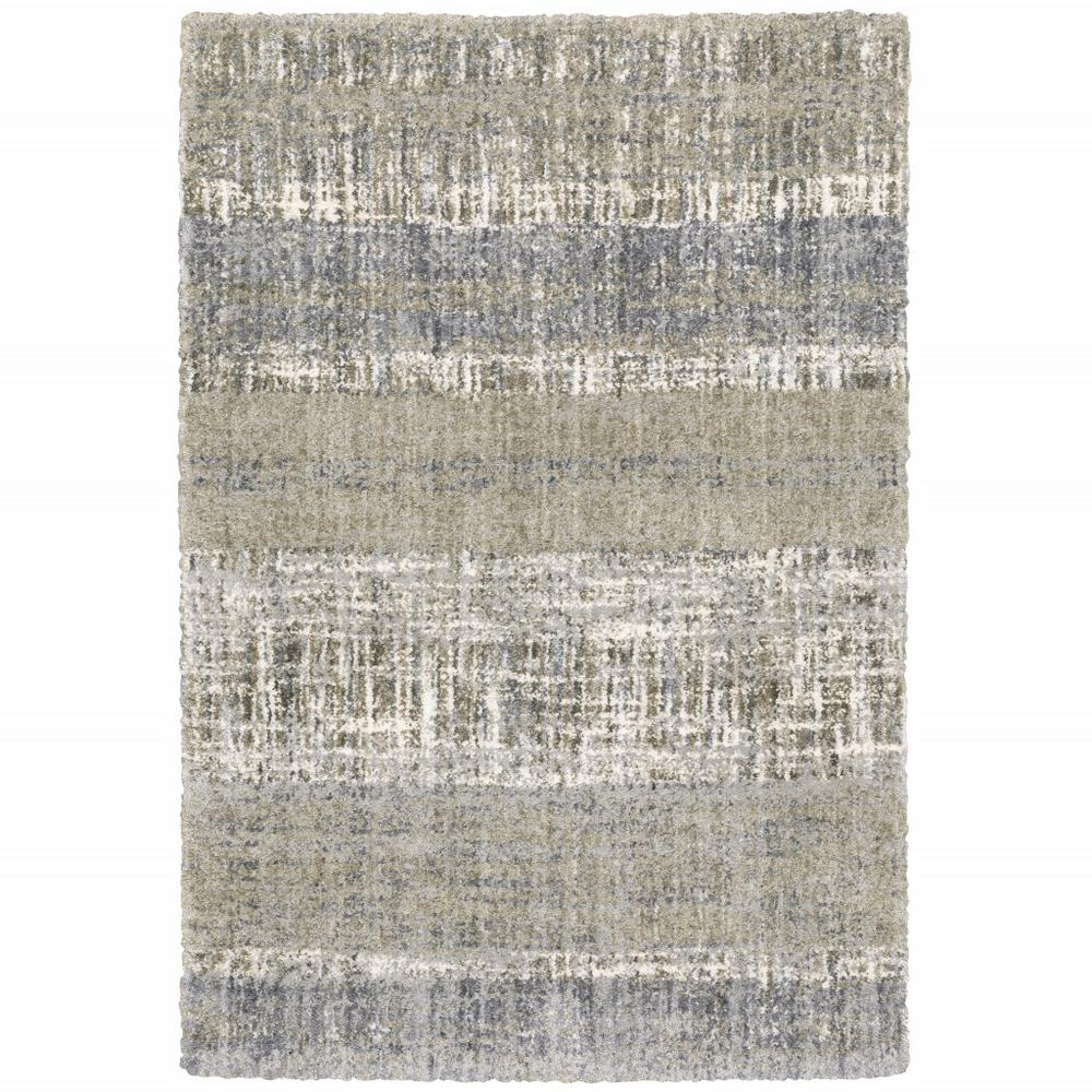 8'x10' Grey and Ivory Abstract Lines  Area Rug - 383680. Picture 1