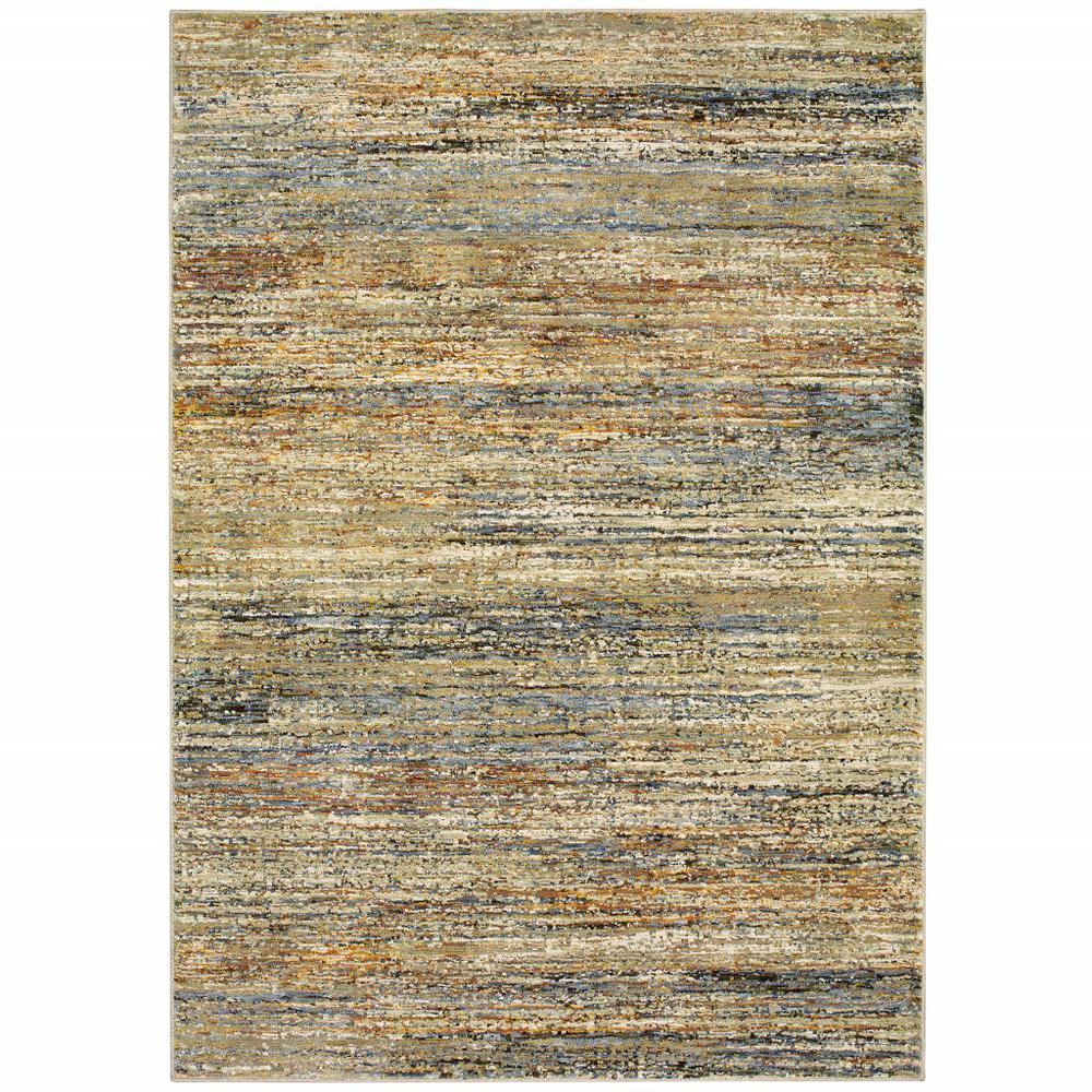 8'x10' Gold and Green Abstract Area Rug - 383705. Picture 1