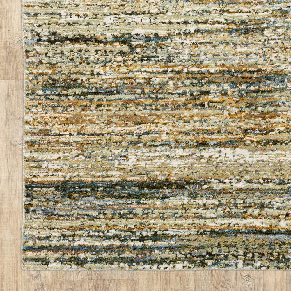8'x10' Gold and Green Abstract Area Rug - 383705. Picture 2