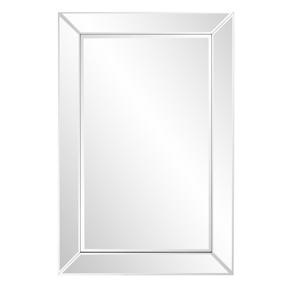 Rectangle Wooden Frame Mirror with Beveled Edge - 383710. Picture 1