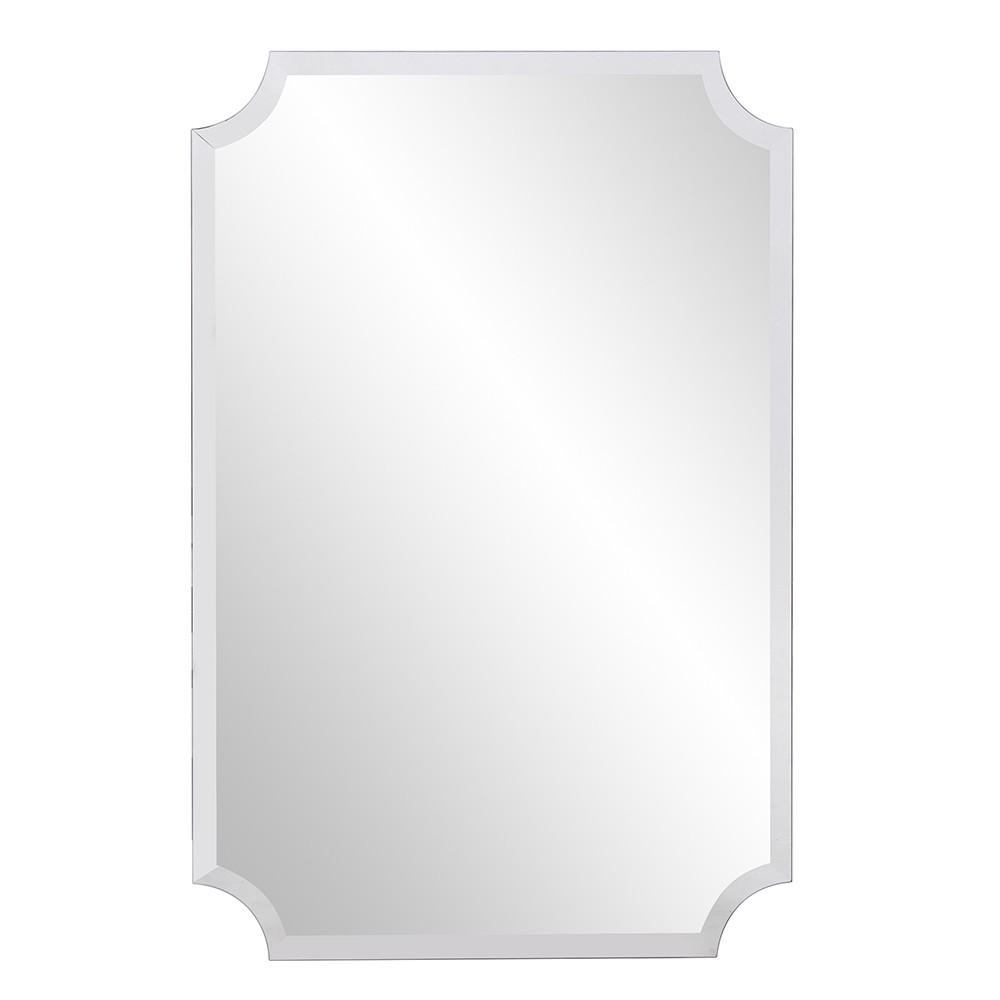 Minimalist  Rectangle Mirror with Beveled Edge And Scalloped Corners - 383712. Picture 2