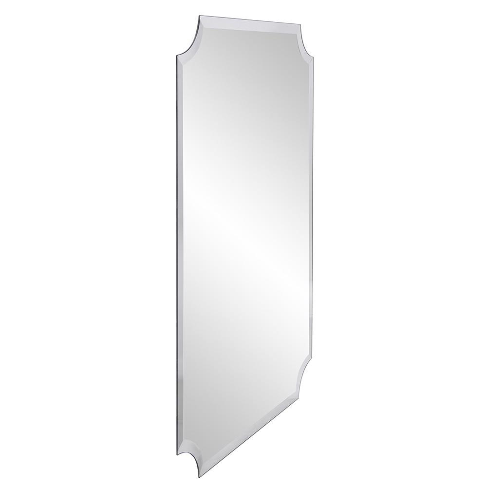 Minimalist  Rectangle Mirror with Beveled Edge And Scalloped Corners - 383712. Picture 3