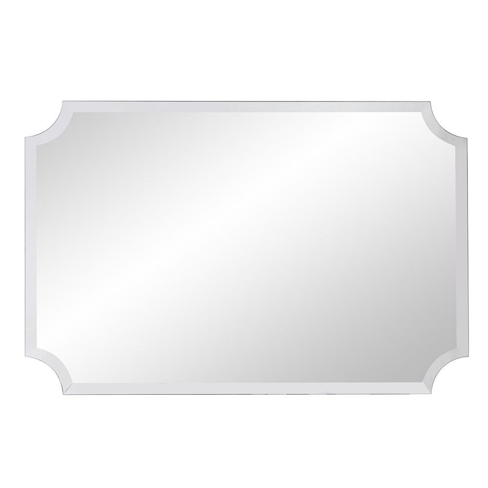 Minimalist  Rectangle Mirror with Beveled Edge And Scalloped Corners - 383712. Picture 4