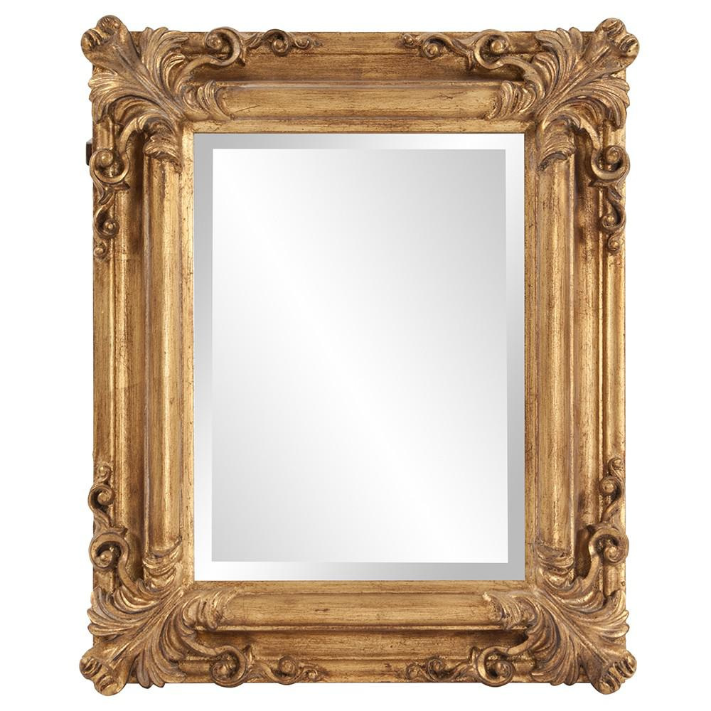 Rectangular Gold Leaf Mirror with Scrolling Flourish - 383719. Picture 1