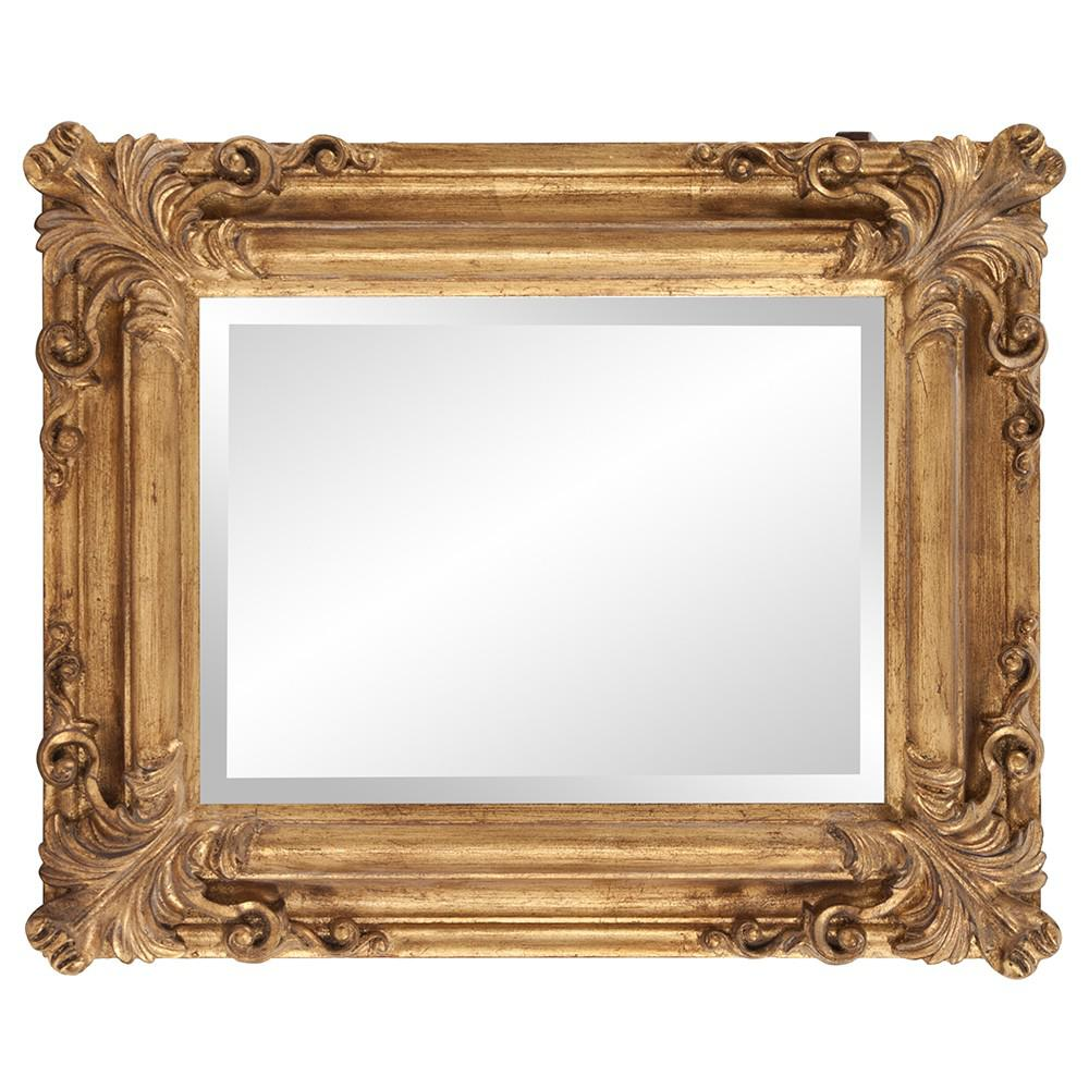Rectangular Gold Leaf Mirror with Scrolling Flourish - 383719. Picture 3