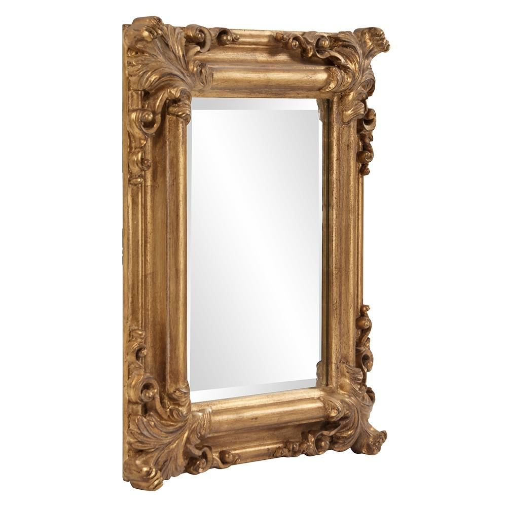Rectangular Gold Leaf Mirror with Scrolling Flourish - 383719. Picture 4