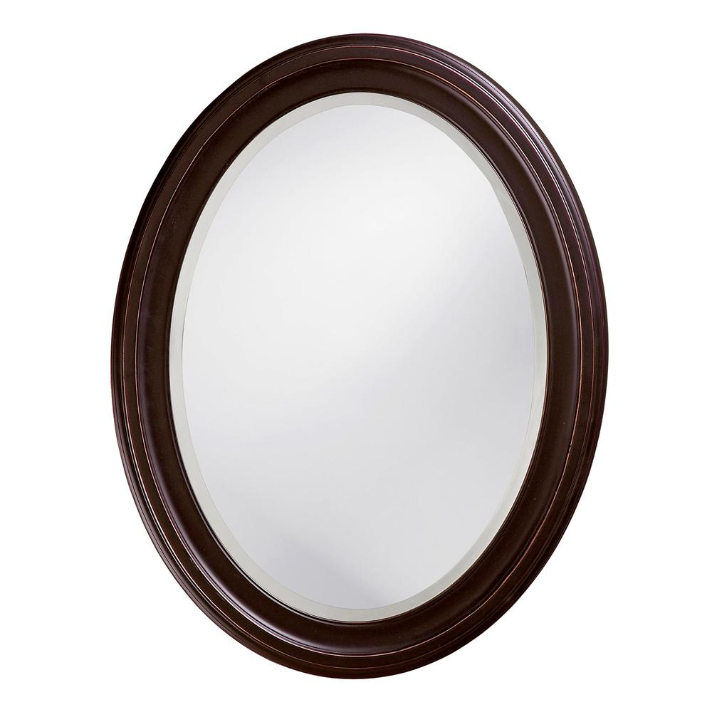 Oval Oil Rubbed Bronze Mirror with Wooden Grooves Frame - 383721. Picture 1