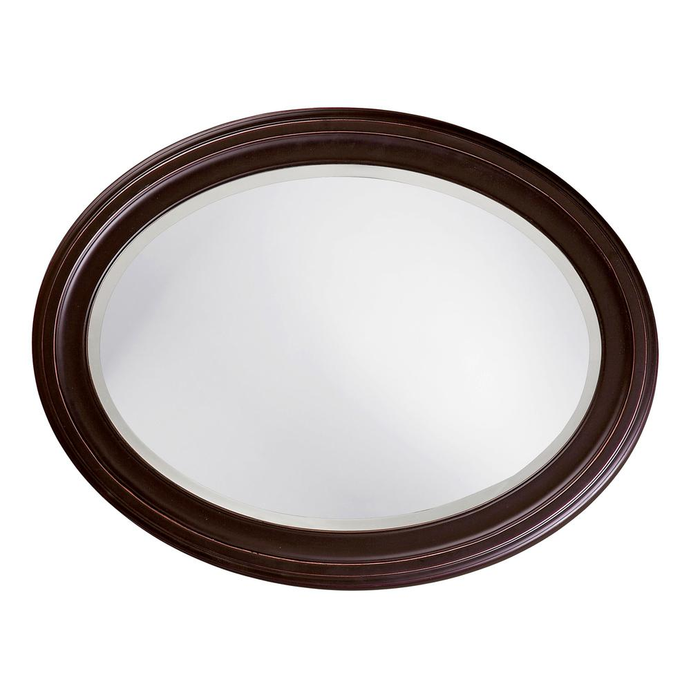 Oval Oil Rubbed Bronze Mirror with Wooden Grooves Frame - 383721. Picture 3