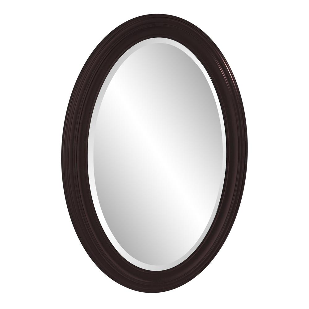 Oval Oil Rubbed Bronze Mirror with Wooden Grooves Frame - 383721. Picture 4