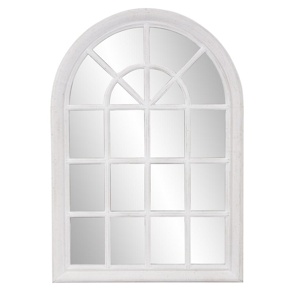 White Washed Mirror with Arched Panel Window Design - 383726. Picture 2