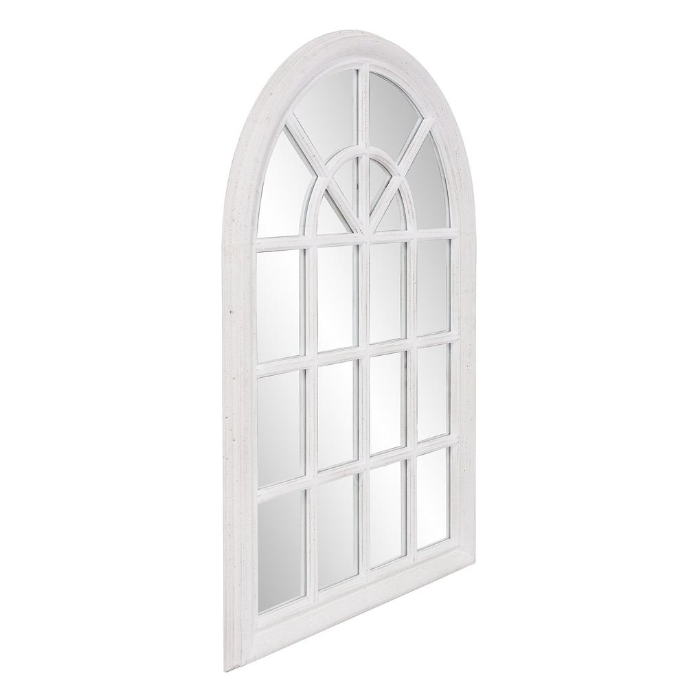 White Washed Mirror with Arched Panel Window Design - 383726. Picture 3