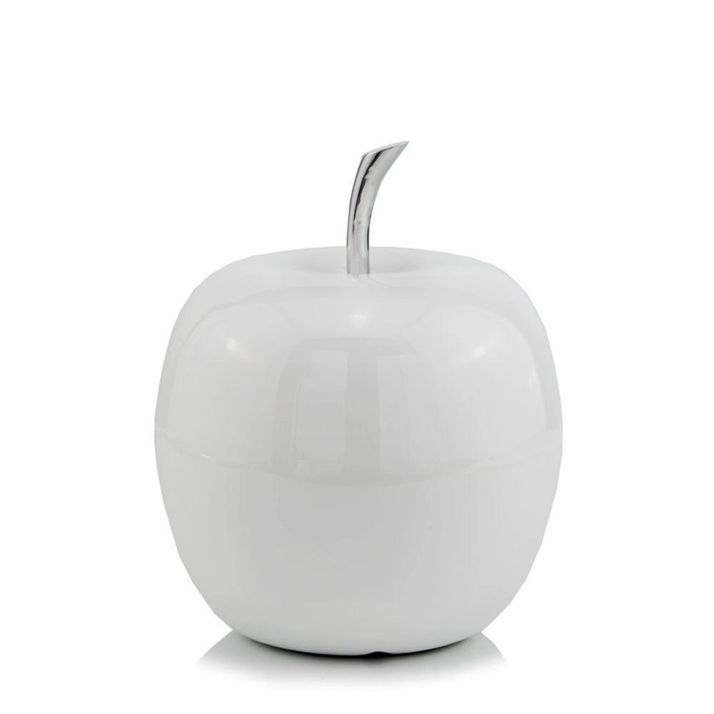 White Medium  Apple Shaped Aluminum Accent Home Decor - 383743. Picture 1