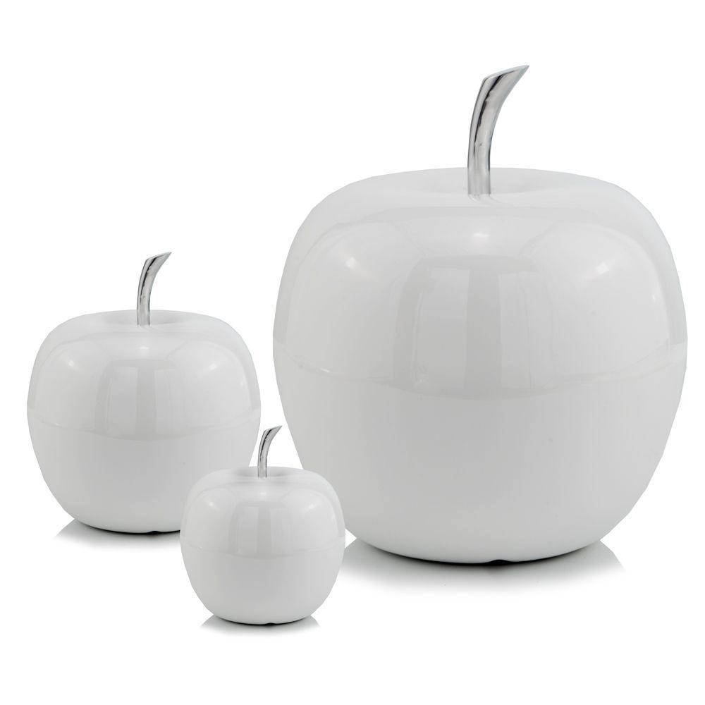 White Medium  Apple Shaped Aluminum Accent Home Decor - 383743. Picture 2