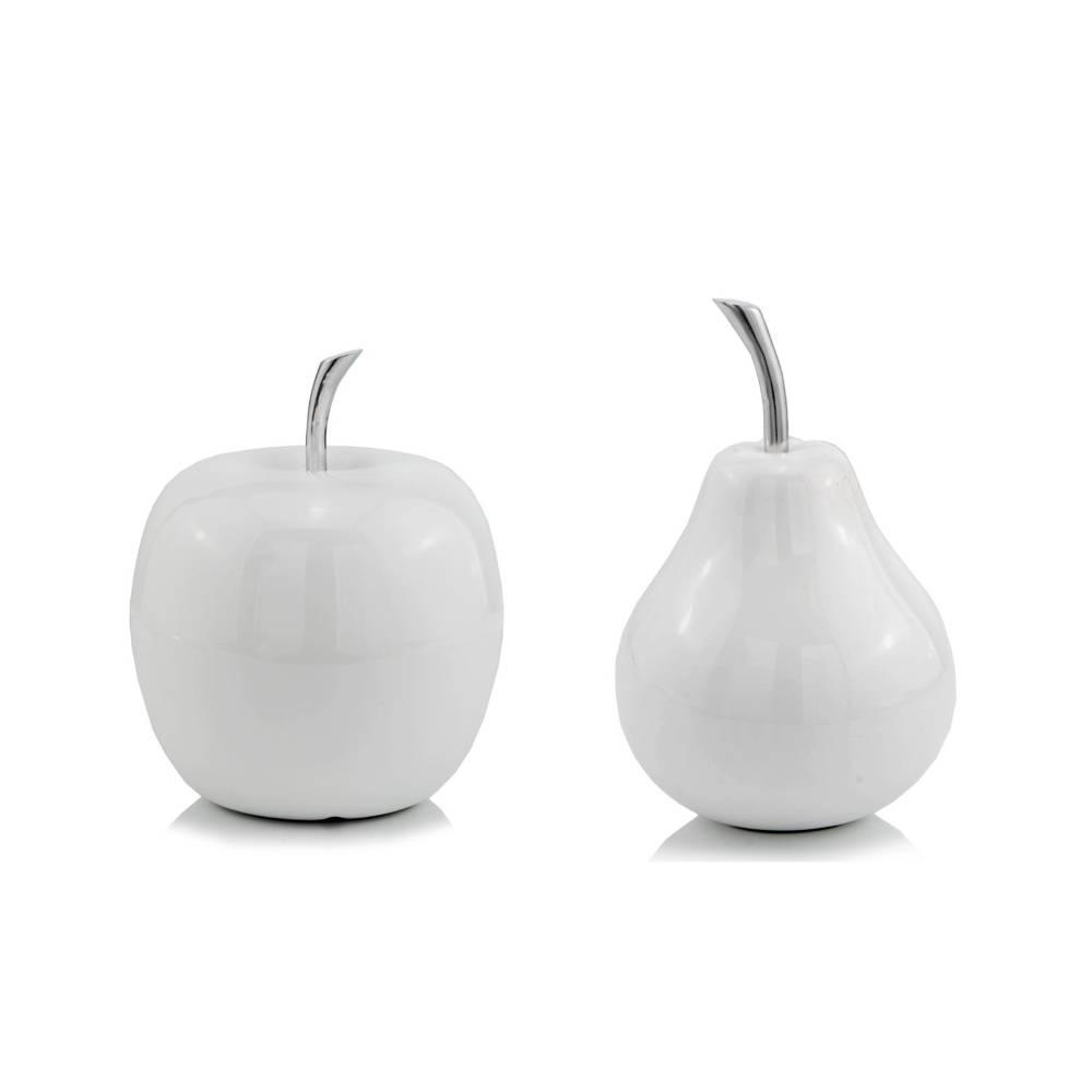 White Medium  Apple Shaped Aluminum Accent Home Decor - 383743. Picture 3