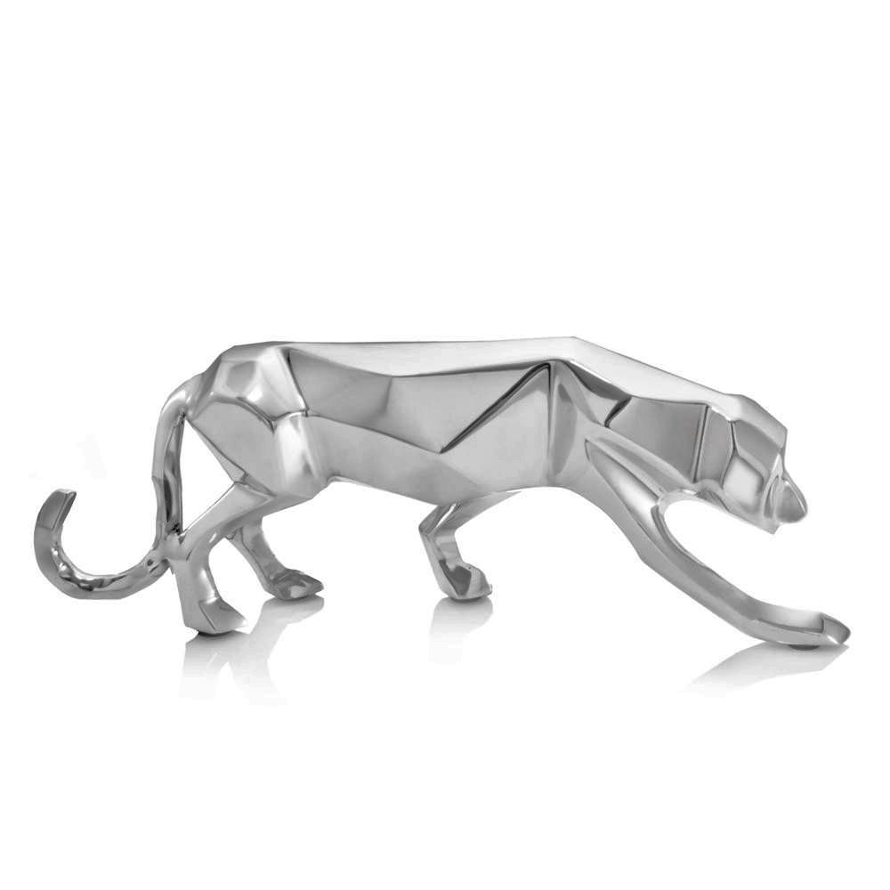 Silver Aluminum Geometric Panther Sculpture - 383746. Picture 1