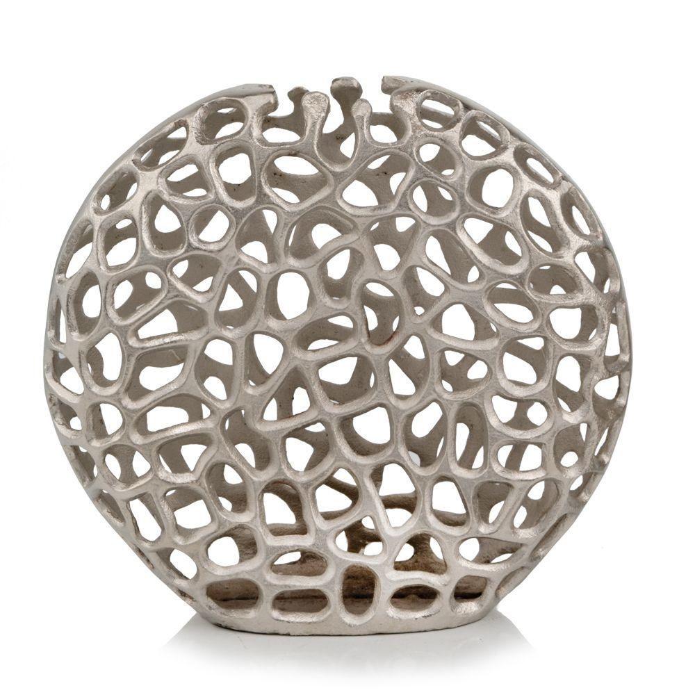 Modern Raw Silver Coral Round Globe Vase - 383747. Picture 1