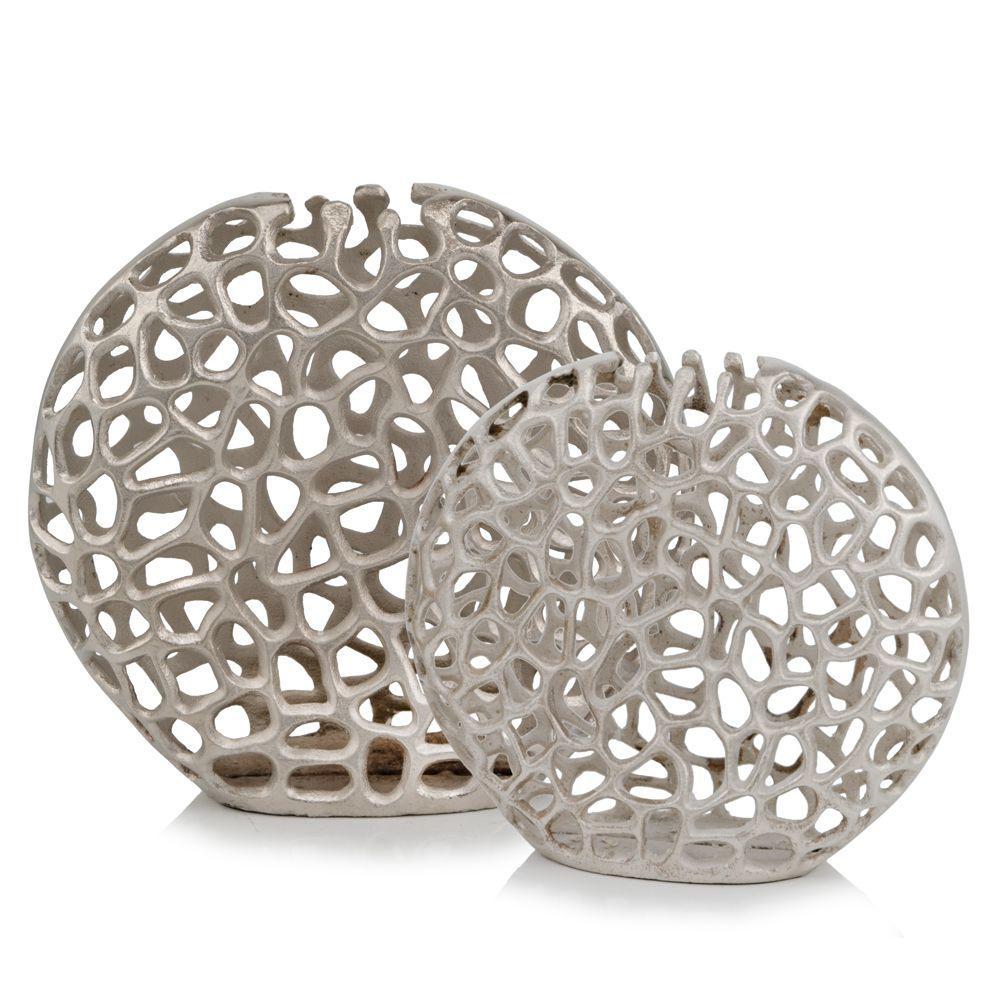 Modern Raw Silver Coral Round Globe Vase - 383747. Picture 2