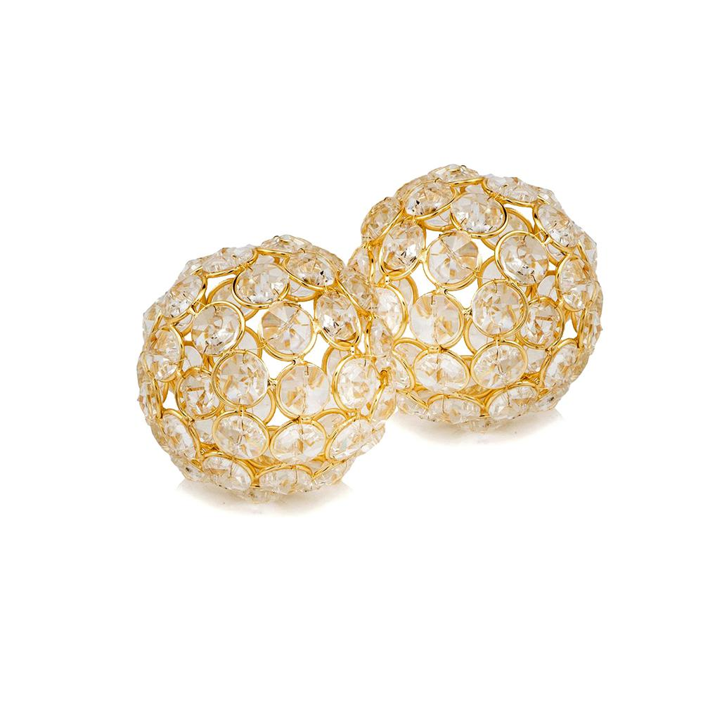 """Set of 2  3"""" Polished Spheres in Brilliant Shiny Luster Finished and Golden Frame - 383755. Picture 1"""