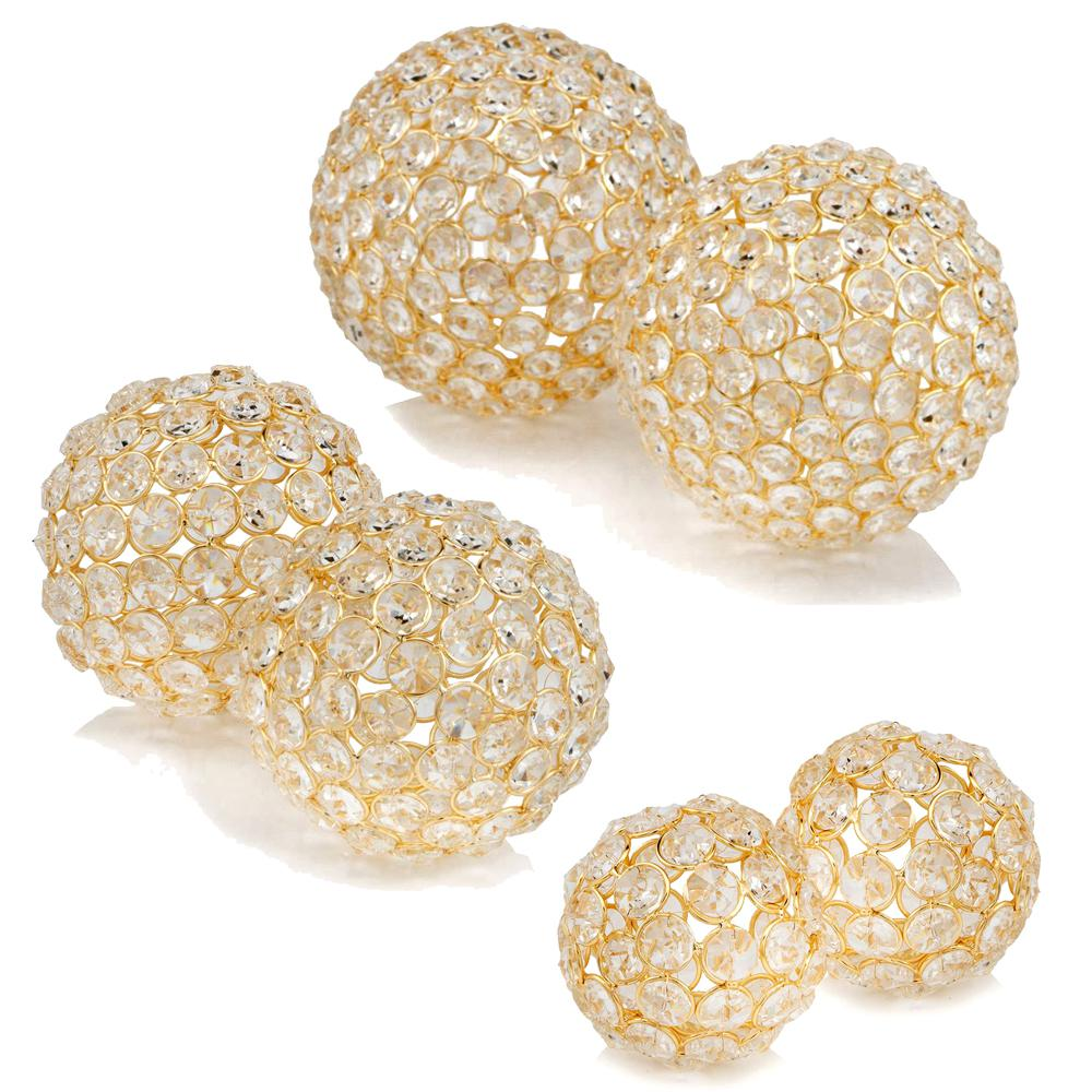 """Set of 2  3"""" Polished Spheres in Brilliant Shiny Luster Finished and Golden Frame - 383755. Picture 2"""