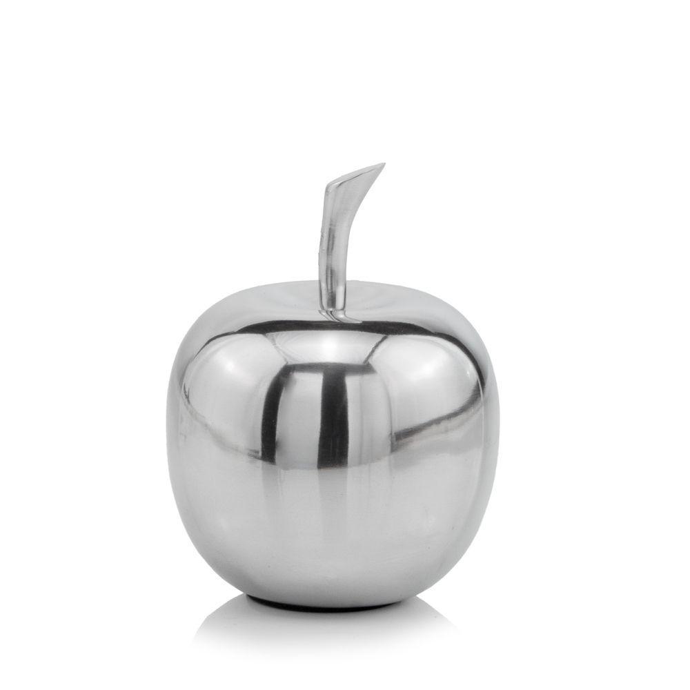 Silver Polished  Mini  Apple Shaped Aluminum Accent Home Decor - 383763. Picture 1