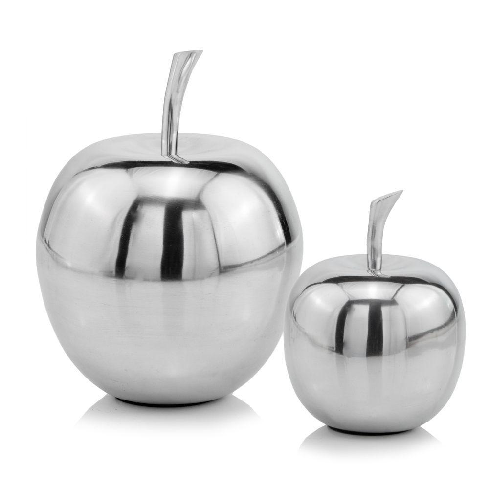 Silver Polished  Mini  Apple Shaped Aluminum Accent Home Decor - 383763. Picture 2