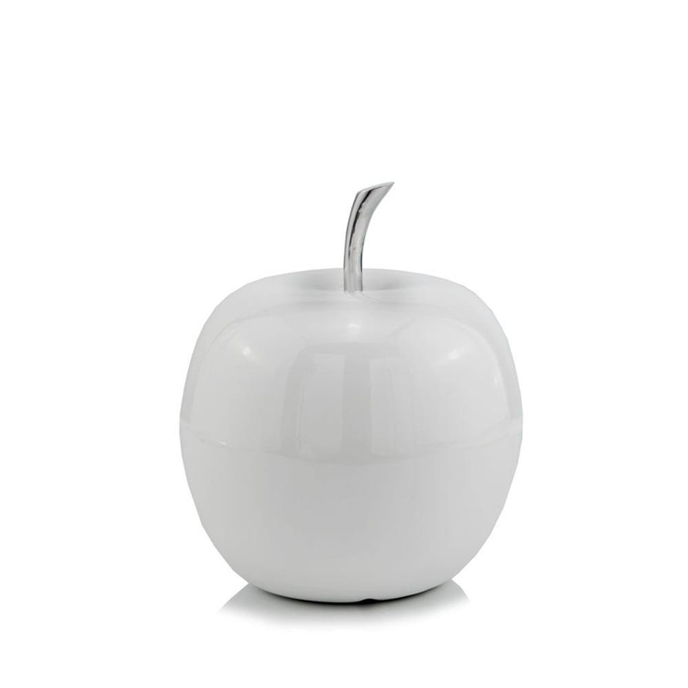 White Coated Mini Apple Shaped Aluminum Accent Home Decor - 383764. Picture 1
