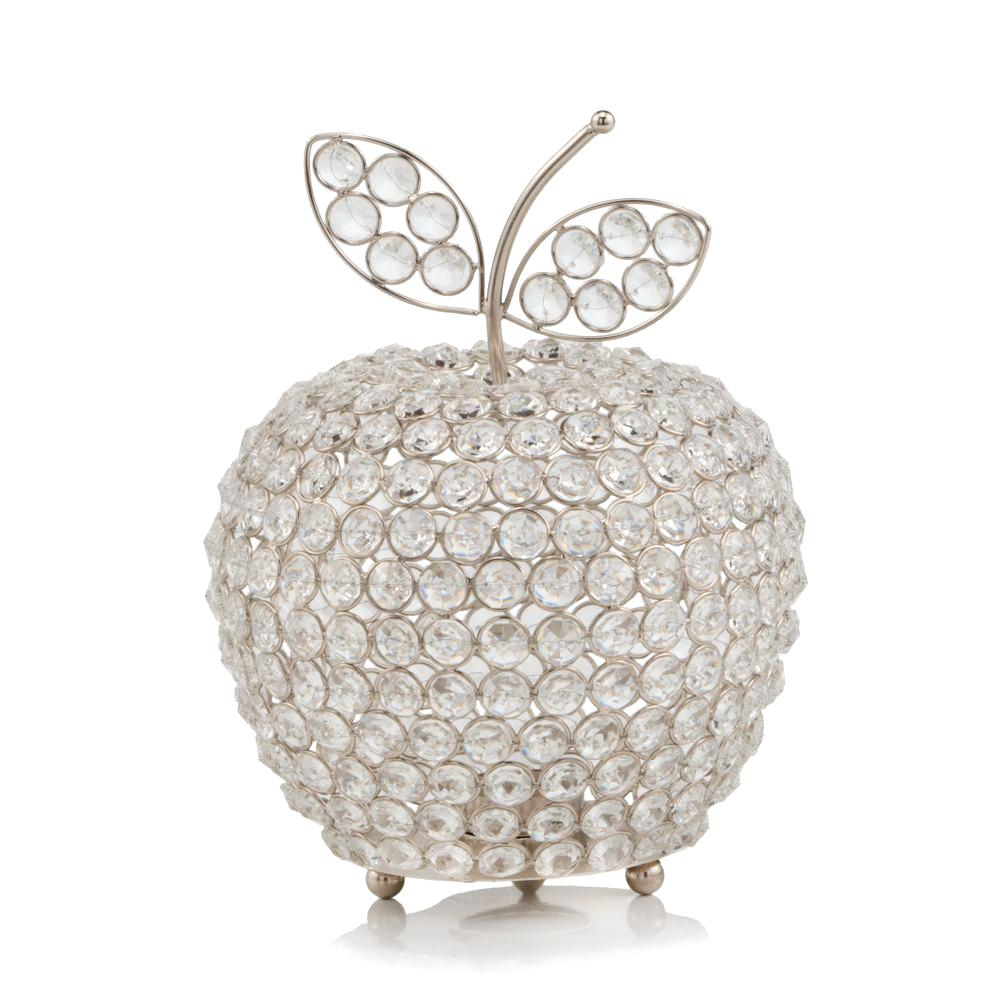 """11"""" Silver Apple Faux Crystal Sculpture - 383778. Picture 1"""