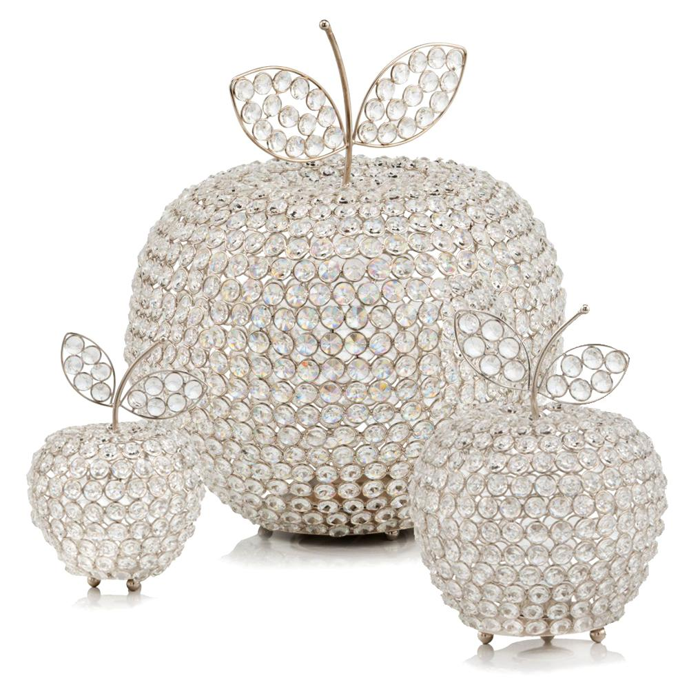 """11"""" Silver Apple Faux Crystal Sculpture - 383778. Picture 2"""