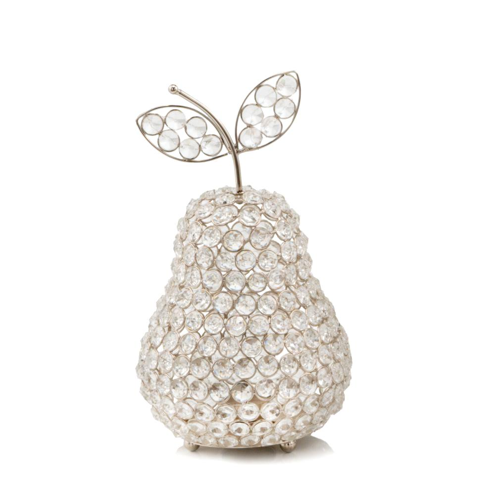 """12"""" Silver Pear Faux Crystal Sculpture - 383779. Picture 1"""