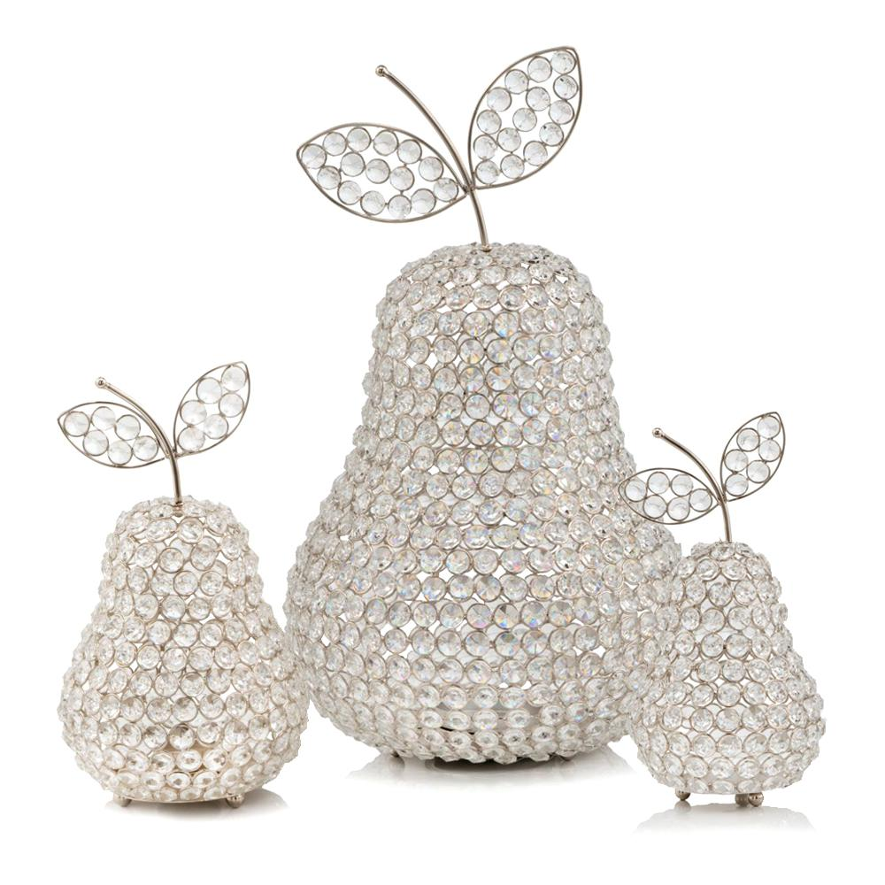 """12"""" Silver Pear Faux Crystal Sculpture - 383779. Picture 2"""
