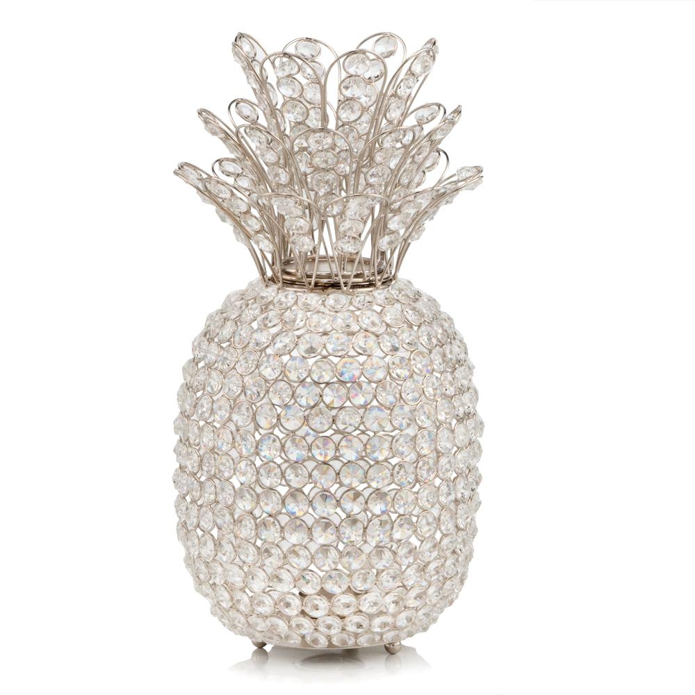 """15"""" Silver Faux Crystal Pineapple Sculpture - 383780. Picture 1"""