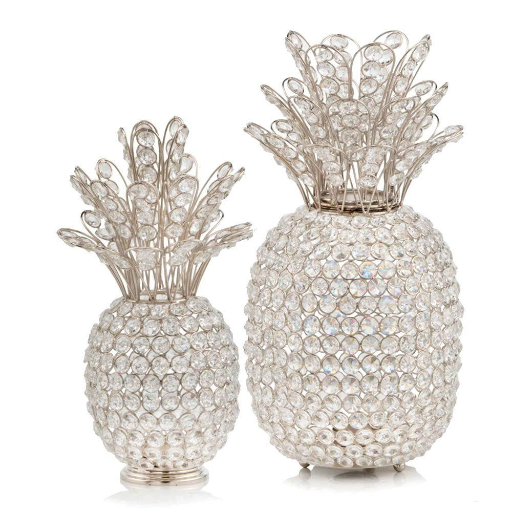 """15"""" Silver Faux Crystal Pineapple Sculpture - 383780. Picture 2"""
