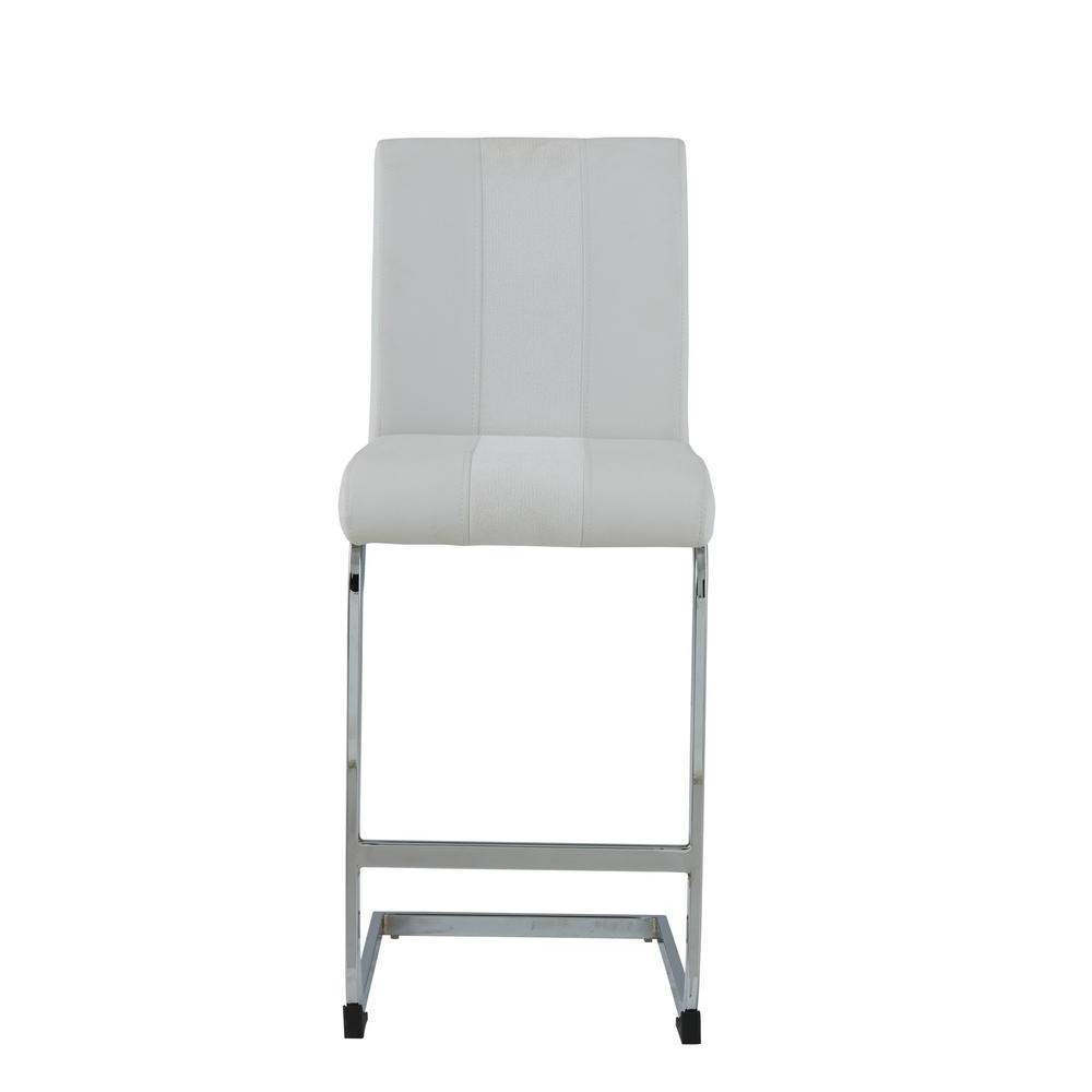 Set of 4 White Two tone Barstools with Silver Tone Metal Base - 383950. Picture 1