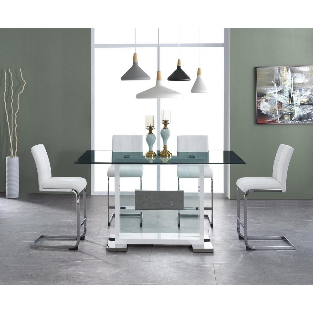 Set of 4 White Two tone Barstools with Silver Tone Metal Base - 383950. Picture 5
